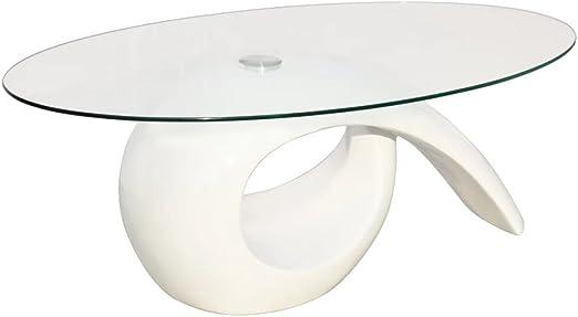 vidaXL Tablero de Vidrio Mesa de Centro Blanco de Alto Brillo para ...