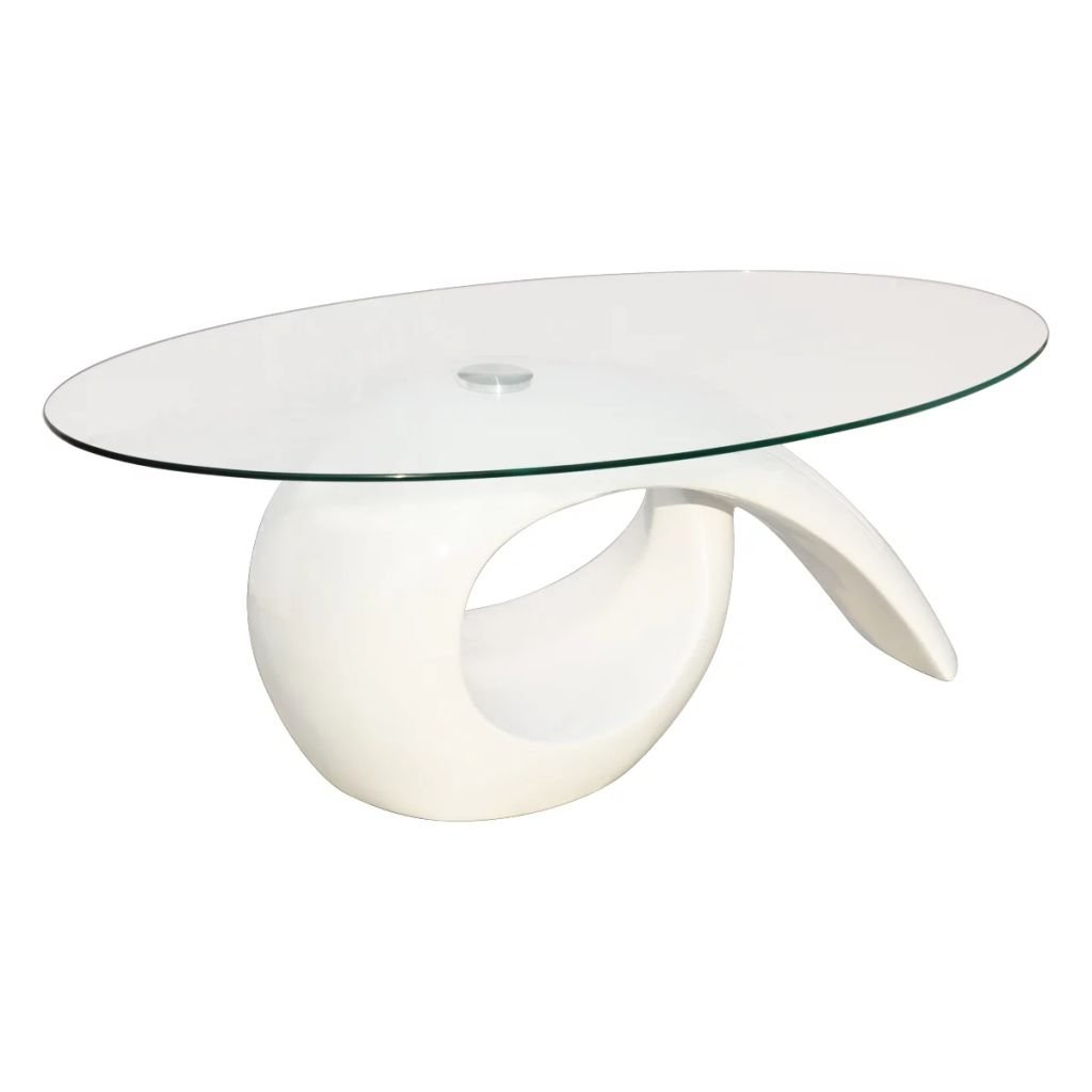 Festnight High Gloss Coffee Table Oval Tempered Glass Top End Side Table Hollow Storage Shelf Living Room Waiting Room Home Office Furniture (White)