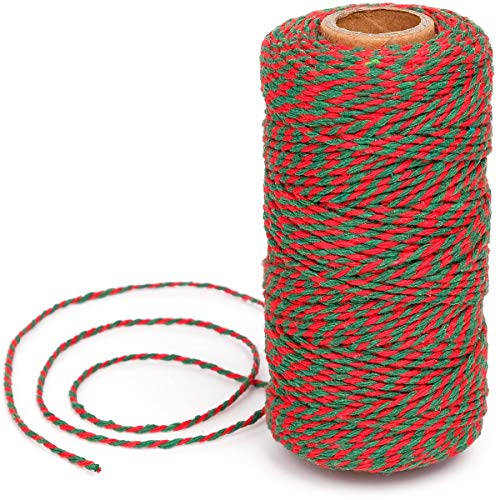 Eison Christmas Twine Bakers Twine Cotton Bakery String Red and Green Twine Rope Cord for Baking, Butchers, and Christmas Gift Wrapping, Arts Crafts 328 Feet