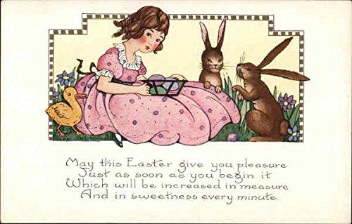 Girl with Easter Basket, Duckling and Rabbits With Children Original Vintage Postcard (Rabbit Vintage Postcard)