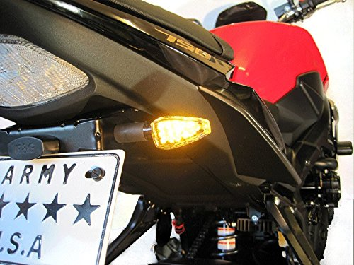 Motorbike LED Indicators with Resistors Carbon Look Long Stem with Amber Tips