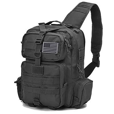 Tactical Sling Bag Pack Military Rover Shoulder Sling Backpack Molle Assault Range Bag Everyday Carry Bag Day Pack with Tactical USA Flag Patch