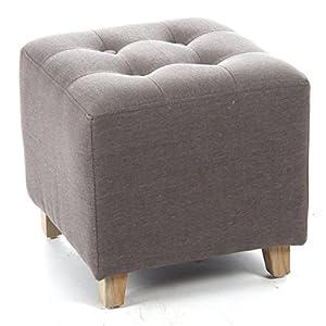 Square footstool linen and cotton colour grey taupe kitche - Pouf de rangement blanc ...
