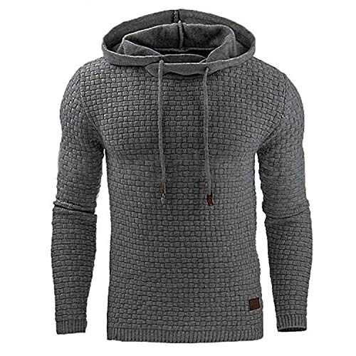 Solid Color Hooded Mens Sweater Tracksuit Sweat Coat Casual Sportswear,Dark Grey,M ()
