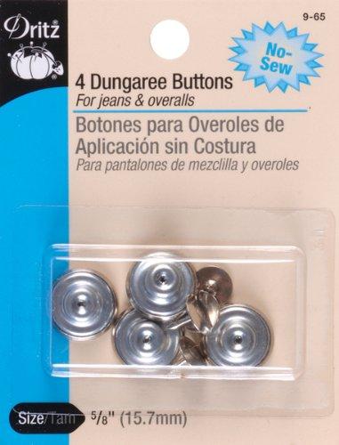 Dritz No-Sew Dungaree Buttons 5/8 4/Pkg-Nickel