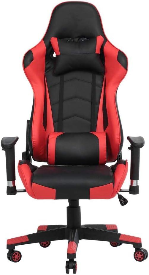 Krispich - Silla para videojuegos, oficina, escritorio, ergonómica, giratoria, con ruedas, altura ajustable y soporte lumbar, color rojo