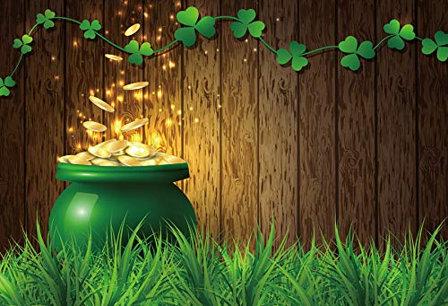 Baocicco 5x3ft Vinyl St.Patrick's Day Backdrop Pot of Gold Photography Background Lucky Irish Shamrock Wooden Texture Wall Grass Field Children Baby Adults Portraits Photo Studio ()