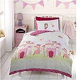 Childrens Girls Pink Fairy Castle Design Single Duvet Set (Twin) (White/Pink)