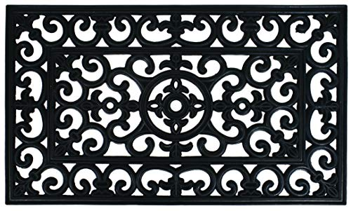 Dandy by William Armes, Wrought Iron Effect Rubber Door Mat Heavy Duty Non Slip, Black, 75 x 45