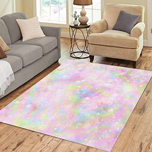 Semtomn Area Rug 5' X 7' Blue Rainbow Holographic Galaxy Printseamless Pattern in Green Mermaid Home Decor Collection Floor Rugs Carpet for Living Room Bedroom Dining Room