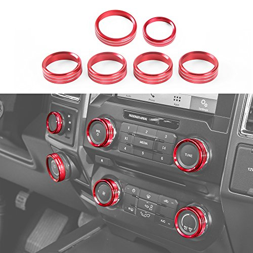 Voodonala Aluminum Alloy Inner Accessories Air Conditioner & Trailer & 4WD Switch Cover Ring Trim for Ford F150 XLT 2016 2017(Red)