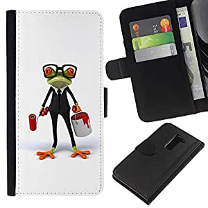 LG G2 / D800 / D802 / D803 / VS980 Modelo colorido cuero carpeta tirón caso cubierta piel Holster Funda protección - White Glasses Frog Smart Job