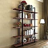Tribesigns 5-Tier Bookshelf, Vintage Industrial Style Bookcase 72 '' H x 12'' W x 47''L, Cherry