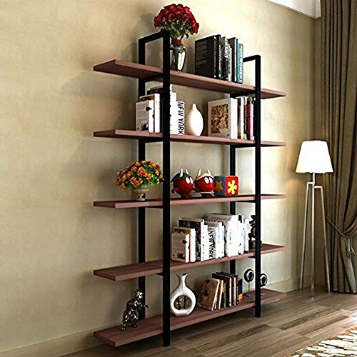 (Tribesigns 5-Tier Bookshelf, Vintage Industrial Style Bookcase 72 H x 12 W x 47L Inches, Cherry )