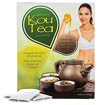 Kou Tea Slimming Tea : Detox Cleanse Weight Loss and Fat Burner Tea - 60 Tea Bags / 1 Month Supply