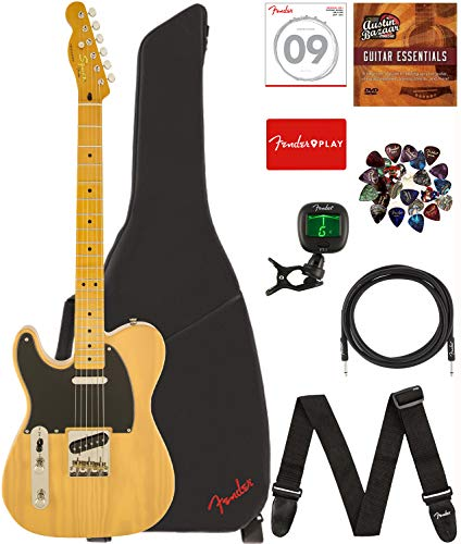Fender Squier Classic Vibe Telecaster '50s Lefty - Butterscotch Blonde Bundle with Gig Bag, Tuner, Strap, Picks, Strings, Instrument Cable, and Austin Bazaar Instructional - Classic Guitar Blonde