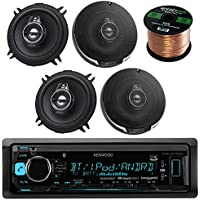 Kenwood KDC-BT31 Single DIN Bluetooth In-Dash CD/AM/FM Car Stereo Receiver Bundle Combo With 4x KFC1395PS 5-1/4 320W Audio Speaker + Enrock 50Ft Speaker Wire