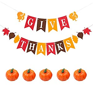 XiaZ Thanksgiving Day Banner with Decorative Pumpkins - Assembled with Thankful Turkey, Fall Maple Leaf Design, Give Thanks Hanging Flag for Fall Wedding Door Frame Doorway Backdrop Fireplace Harvest Time Giving Thanks Dinner Party