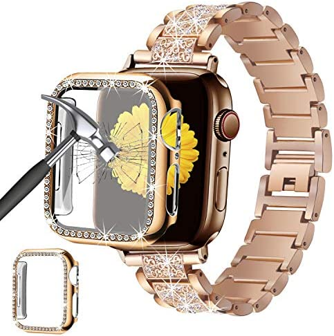 Mesime Compatible for Apple Watch Band 44mm with Screen Protector Case, Jewelry Replacement Metal Band & 2-pack Bling Full Cover Protective Case for iWatch Series 6/5/4 se (Rose Gold)