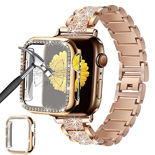 Mesime Compatible for Apple Watch Band 38mm 40mm 42mm 44mm with Screen Protector Case, Jewelry Replacement Metal Band & 2-Pack Bling Full Cover Protective Case for iWatch Series 6/5/4/3/2/1