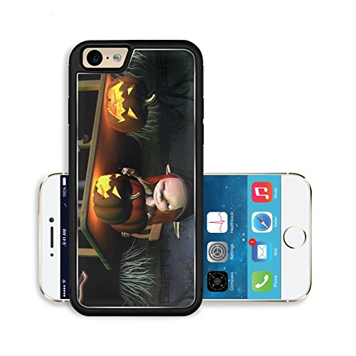 Liili Premium Apple iPhone 6 iPhone 6S Aluminum Backplate Bumper Snap Case IMAGE ID 32913908 Little goblin carving spooky Halloween pumpkin lanterns with dark Halloween background 3d digitally rendere (Pumpkin Background)