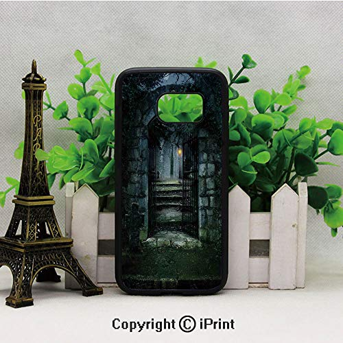 Illustration of The Gate of a Dark Old Haunted House Cemetary Dead Myst Fiction Art Print Samsung S7 Case Black Soft TPU and PC Protection Anti-Slippery Case for Samsung S7 Grey Green