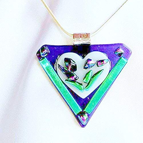 (PURPLE PASSION White Heart Flower Dichroic Fused Glass Jewelry Pendant with Necklace)
