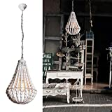 Wereal Pendant Lighting 1 Light Vintage Shade Modern Wooden Bead Europe Style Light,E26 Bulb White Finsh Hanging Ceiling Fixture Lamp for Kitchen…