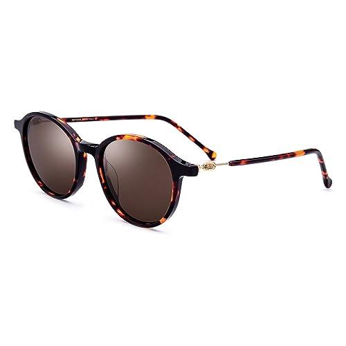 Tianou Gafas de sol acetato cuadrado medio para hombres