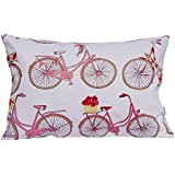 "TangDepot Decorative Handmade Cotton Throw Pillow Covers/Pillow Shams, Sailing, Bike, Fire_Balloon theme cushion cover - (12""x18"", V04 Pink Bicycle)"