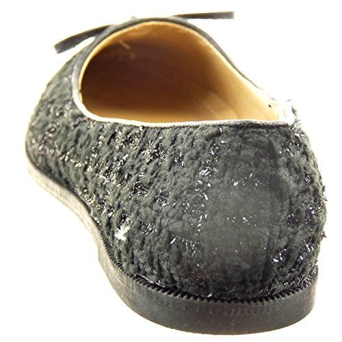 1 Tacón Sopily Talón Negro Pajarita Bailarinas CM de Mujer Moda Zapatillas Brillantes Alto Tobillo Ancho wxU7rwz8q