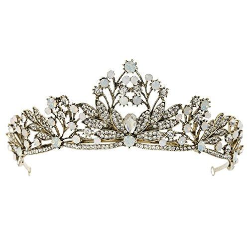 FANGZHIDI Gunmetal Opal Tiara for Women,Crystal Tiaras Crowns Baroque Style Headband Floral Leaves No Comb Costume Head-wear Decoration Metal Tiara for Women (C1153) ()