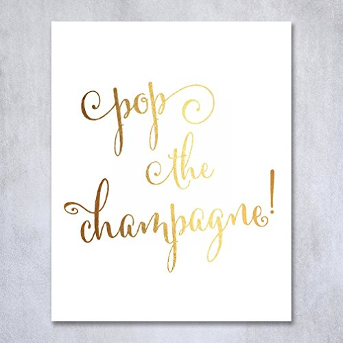 Gold Accent Lunch (Pop the Champagne Gold Foil Art Print Birthday Party Sign Mimosa Bar Cart Wedding Toast Decor Reception Cocktail Poster 5 inches x 7 inches B10)