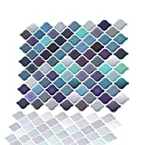 Stick On Backsplash Peel and Stick 3D Wall Tile Anti Mold Anti Oil PET Backsplash for Kitchen Bathroom Blue Light Blue Color(10 Tiles)