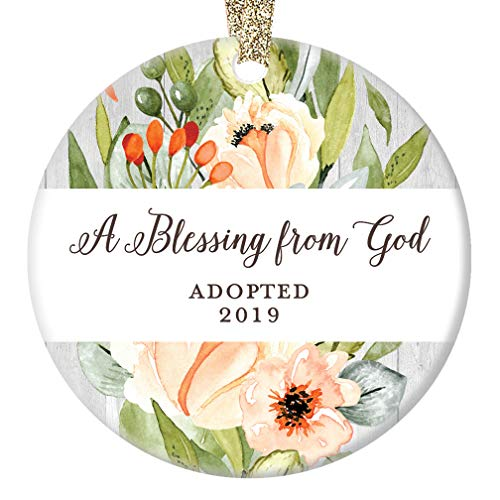 Porcelain Shower Baby - Adoption Christmas Ornament, A Blessing From God First Christmas Adopted 2019 1st Xmas Blessed Family Present Porcelain Baby Shower Ceramic Keepsake 3