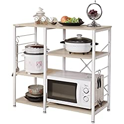 "DlandHome Microwave Cart Stand 35.4"", Kitchen Utility Storage 3-Tier+3-Tier for Baker's Rack & Spice Rack Organizer Workstation Shelf, 171-M Maple, 1 Pack"