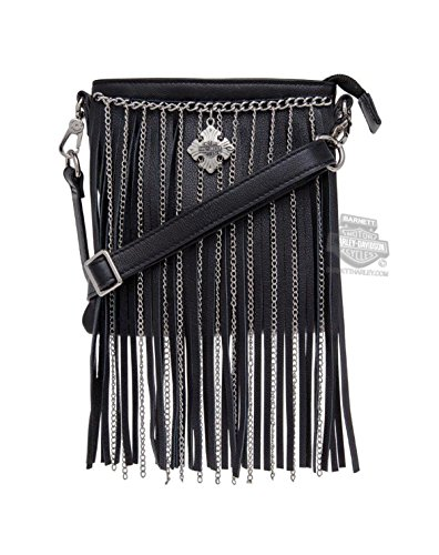 Harley-Davidson Womens Off the Chain Fringe Detail Crossbody Black Leather Purse by Harley-Davidson (Bags)