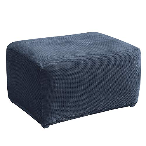 SureFit Stretch Pique Oversized Ottoman Slipcover, Navy