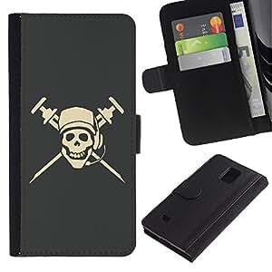 Ihec-Tech / Flip PU Cuero Cover Case para Samsung Galaxy Note 4 SM-N910 - Cool Pirate Skull Dj Microphone Cap