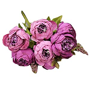 LINGERY 1 Bouquet 8 Heads Artificial Peony Silk Flower Leaf Decor for Home Garden Hotel Birthday Flowers Party Bunch 101