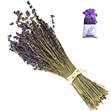MGOGO Dried Lavender Bundles,Real Dried Lavender Bud Flowers French Royal Velvet Purple Lavender Bunch Decorative Flowers Bouquet for DIY Home Office Party Wedding Decor and Birthday Gift