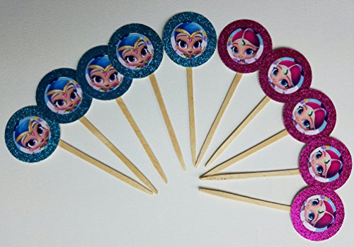 Aqua Shimmer (8 Pink Aqua Shimmer and Shine Cupcake Toppers for Party Favor Dessert Table Food Goody Bags)