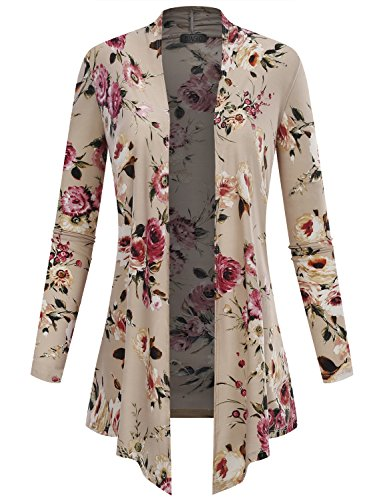 (BIADANI Women's Open Front Lightweight Cardigan Floral Print 11992 Stone X-Small)