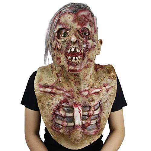 molezu Walking Dead Scary Mask, Resident Evil Monster Mask, Bloody Overhead Zombie Costume Party Latex Mask for Halloween -