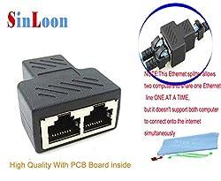 RJ45 Splitter Adapter 1 to 2 Dual Female Port CAT 5/CAT 6 LAN Ethernet Socket Splitter Connector Adapter