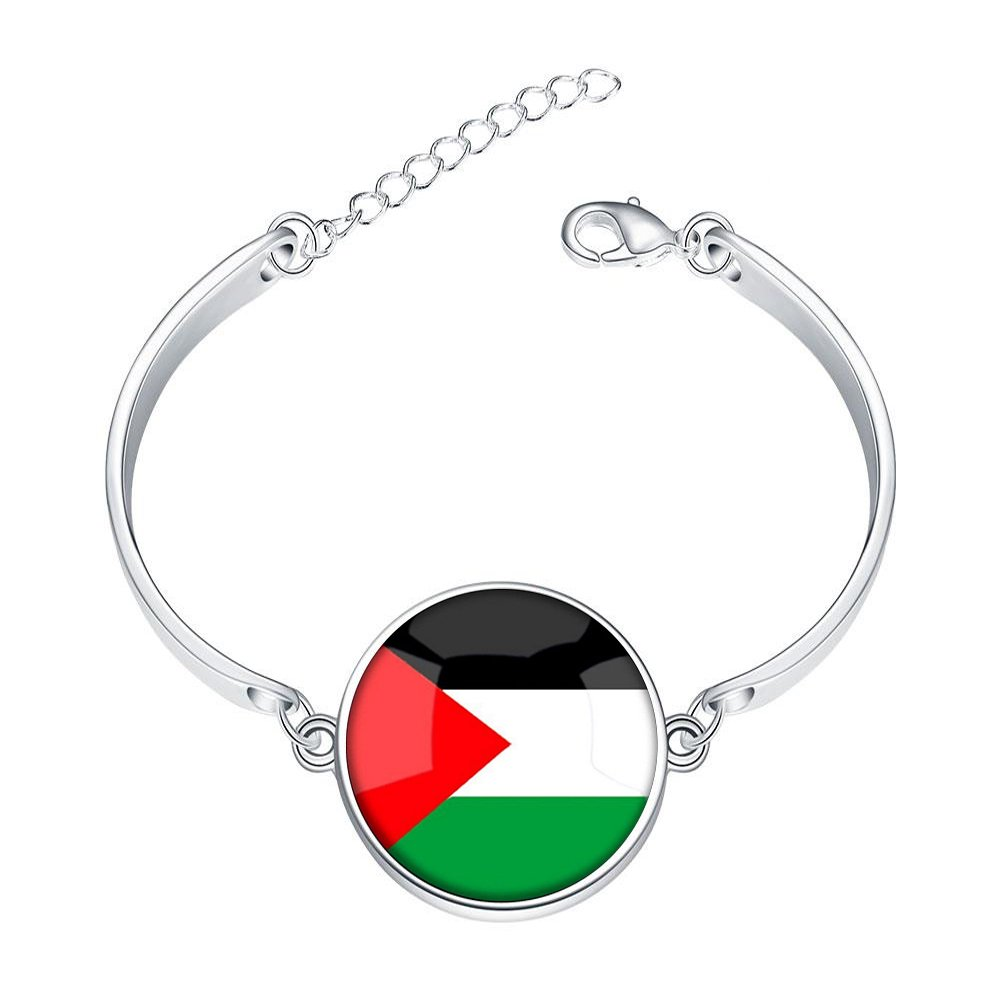 Silver Bangle Bracelet The Hashemite Kingdom of Jordan National Flag Adjustable Bracelets with Round Charm Glass Pendant Love Gift