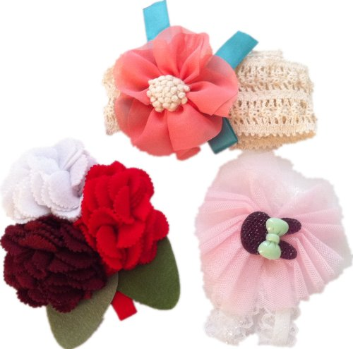 kulala stylish and cute little Girls headwear,3 different color and design for a set from kulala