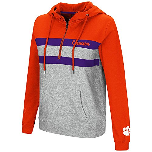 Colosseum Womens Clemson Tigers Quarter Zip Pull-over Hoodie - -