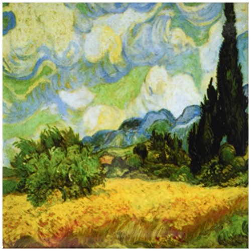 - Rikki Knight Van Gogh Art Cypresses Design Art Ceramic Tile, 4 by 4-Inch