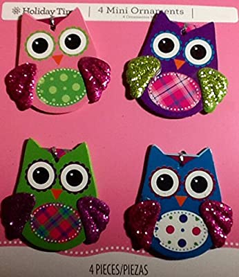 4 Wooden Decorations ~ Fancy Modern Owls ~ Ornament ~ Arts & Crafts Scrapbooking Embellishment ~ Frame Decor ~ Album Cover